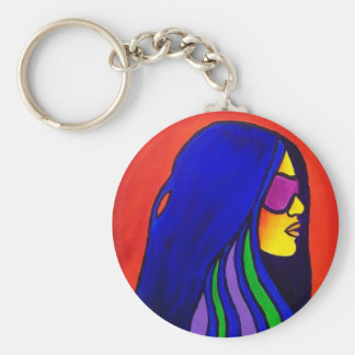Sunglass Woman by Piliero Basic Round Button Key Ring