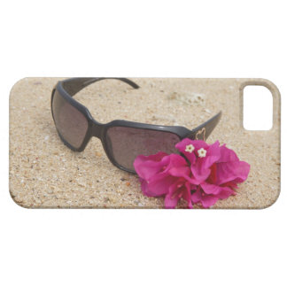 Sunglasses and bougainvillia flowers on coral iPhone 5 cover