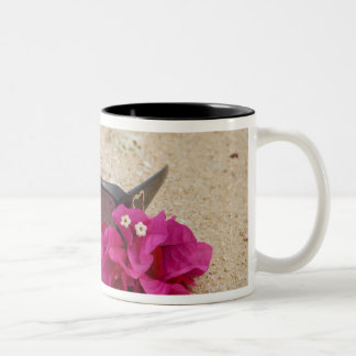 Sunglasses and bougainvillia flowers on coral Two-Tone coffee mug