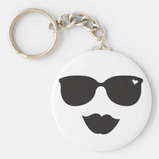 Sunglasses and Lips Face Keychain