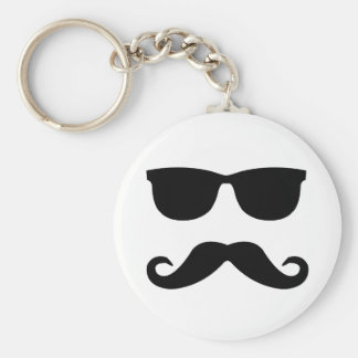 sunglasses and 'stache basic round button key ring