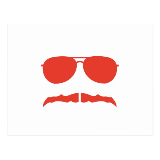 sunglasses and 'stache postcard