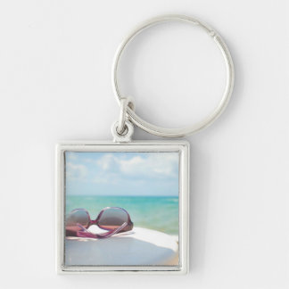 Sunglasses At Beach Silver-Colored Square Key Ring