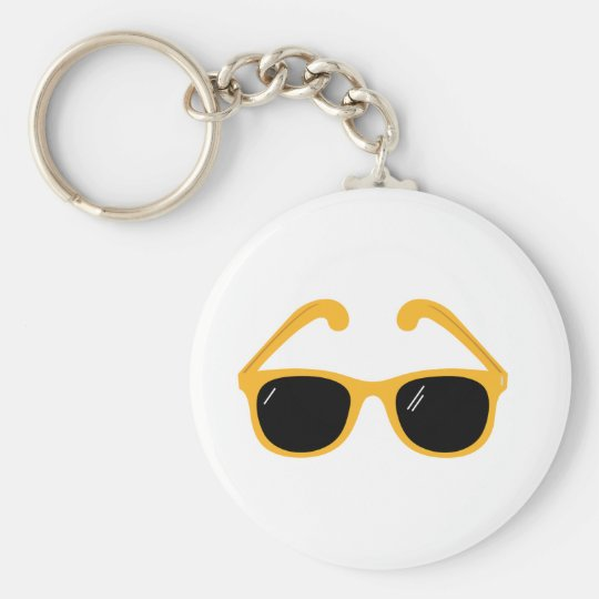 Sunglasses Basic Round Button Key Ring