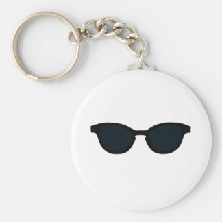 Sunglasses Black Rim Black Lens Art jGibney The MU Basic Round Button Key Ring