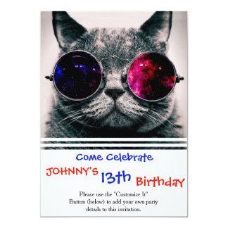 sunglasses cat 13 cm x 18 cm invitation card