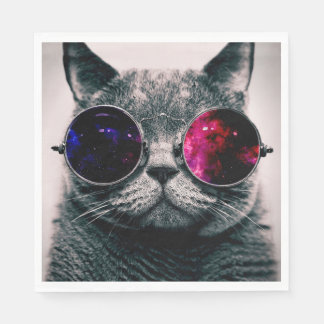 sunglasses cat paper napkin
