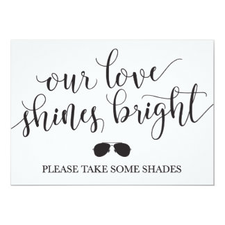 Sunglasses Favors Sign - Our Love Shines Bright Card