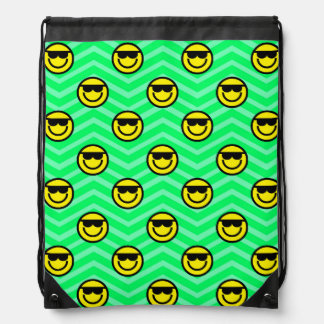 Sunglasses Happy Face on Neon Green Chevron Backpack