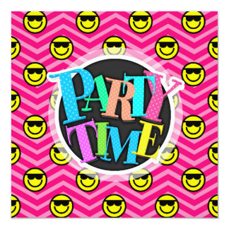 Sunglasses Happy Face on Pink Chevron Pattern 13 Cm X 13 Cm Square Invitation Card