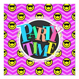 Sunglasses Happy Face on Purple Chevron Pattern 13 Cm X 13 Cm Square Invitation Card