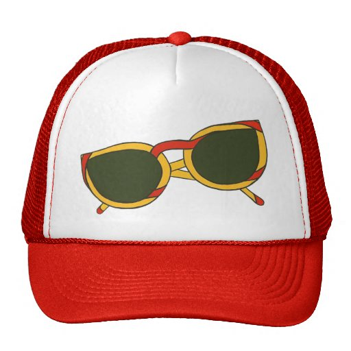 Sunglasses in yellow and red on  Hats