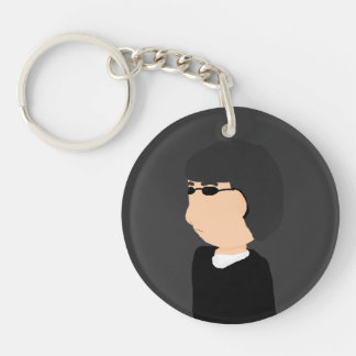 sunglasses man Single-Sided round acrylic keychain