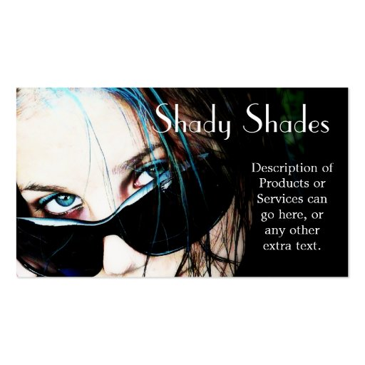 Sunglasses on Teenage Girl Business Card Templates