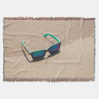 Sunglasses on the Beach Throw Blanket