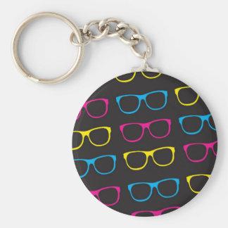 Sunglasses pattern basic round button key ring