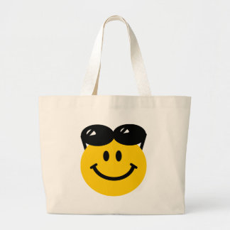 Sunglasses perched on top of head smiley face jumbo tote bag
