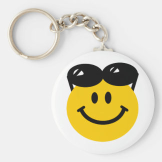 Sunglasses perched on top of head smiley face key chain