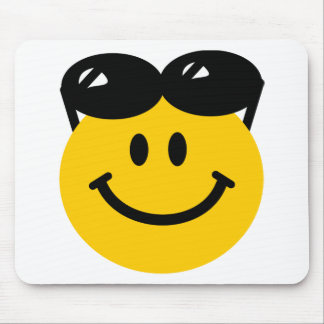 Sunglasses perched on top of head smiley face mouse mat