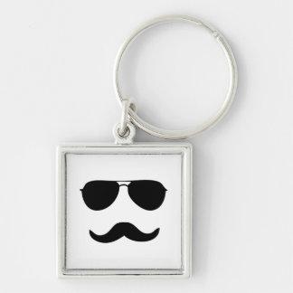 Sunglasses Silver-Colored Square Key Ring