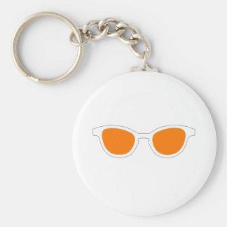 Sunglasses White Rim Orange Lens The MUSEUM Zazzle Keychains