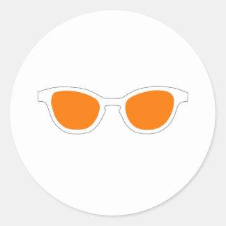 Sunglasses White Rim Orange Lens The MUSEUM Zazzle Round Sticker
