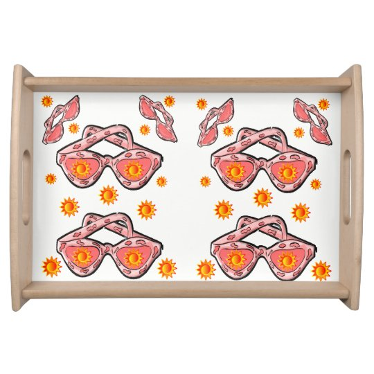 sunglasses white serving tray