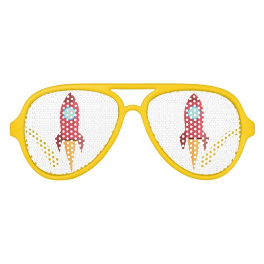 sunglasses with red rocket and yellow frame
