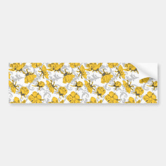 Sunglow Yellow and Gray Vintage Floral Pattern Bumper Sticker