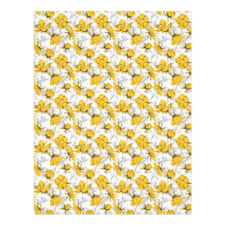 Sunglow Yellow and Gray Vintage Floral Pattern Full Color Flyer
