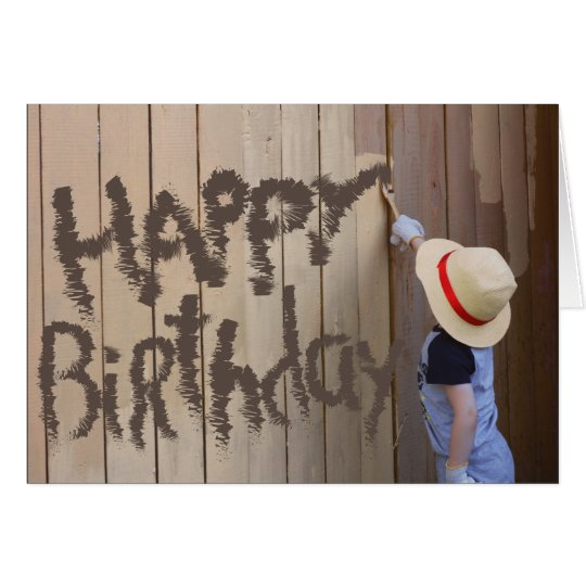 Sunhat Boy Painting Fence Happy Birthday Card