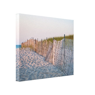 Sunken Meadow Beach Fencing along Dune Gallery Wrapped Canvas