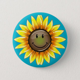 Sunkissed Smiling Sunflower 6 Cm Round Badge