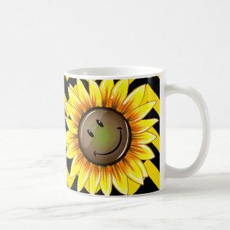 Sunkissed Smiling Sunflower Basic White Mug