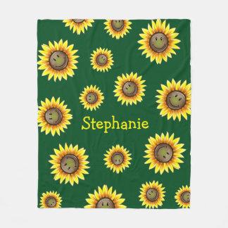 Sunkissed Smiling Sunflower Fleece Blanket