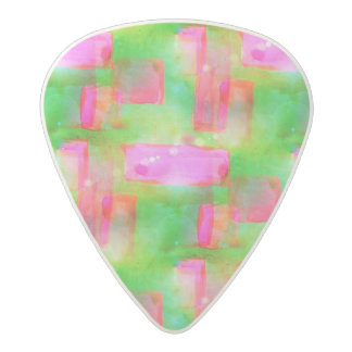 Sunlight abstract painted yellow, pink acetal guitar pick