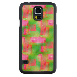 Sunlight abstract painted yellow, pink carved maple galaxy s5 case