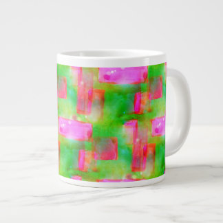 Sunlight abstract painted yellow, pink large coffee mug