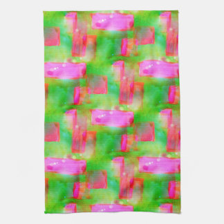 Sunlight abstract painted yellow, pink tea towel