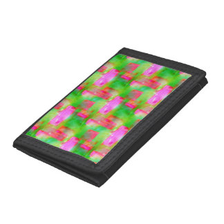 Sunlight abstract painted yellow, pink tri-fold wallets