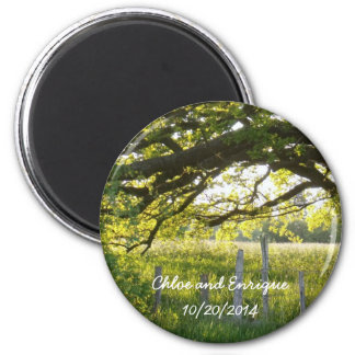 Sunlight And Trees Personalized Wedding 6 Cm Round Magnet