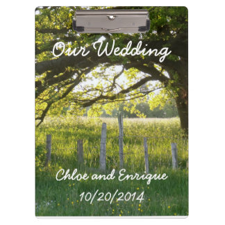 Sunlight And Trees Personalized Wedding Clipboard