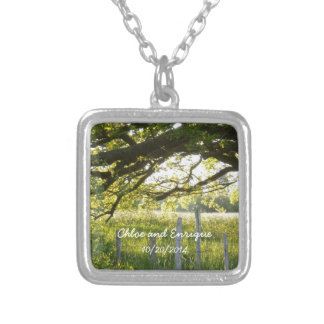 Sunlight And Trees Personalized Wedding Silver Plated Necklace