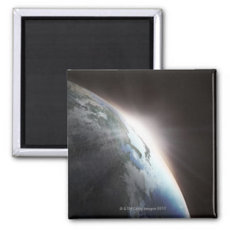 Sunlight Behind Earth 2 Square Magnet