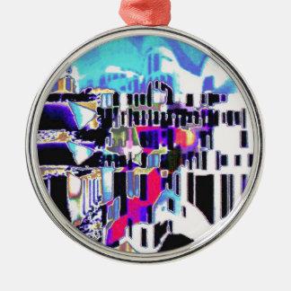 Sunlight on Mediterranean village Silver-Colored Round Decoration