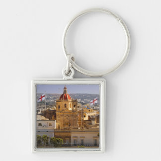Sunlight on the church in the town of Victoria Silver-Colored Square Key Ring