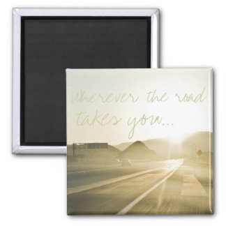 Sunlight on the Road Square Magnet