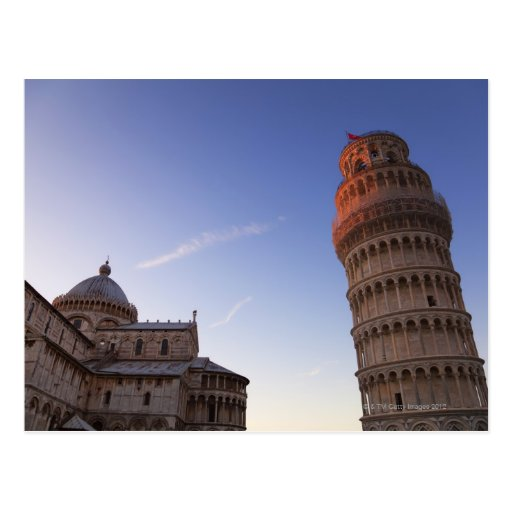Sunlight on the top of the Leaning Tower of Pisa Post Card