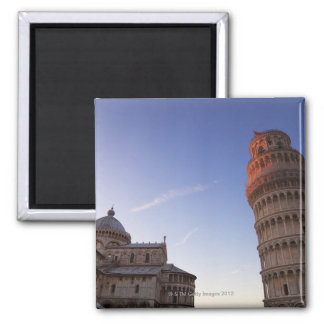 Sunlight on the top of the Leaning Tower of Pisa Square Magnet
