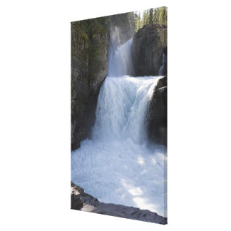 Sunlight On Waterfalls On The Side Of A Mountain 2 Canvas Print